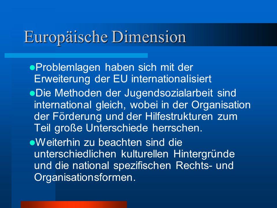 Problemlagen haben sich mit der Erweiterung der EU internationalisiert Die Methoden der Jugendsozialarbeit sind international gleich, wobei in der Org