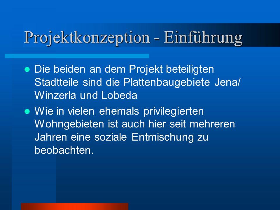 Projektkonzeption - Einführung Die beiden an dem Projekt beteiligten Stadtteile sind die Plattenbaugebiete Jena/ Winzerla und Lobeda Wie in vielen ehe