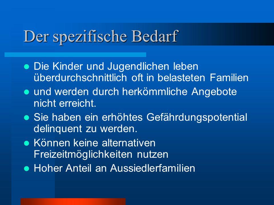 Zielgruppe Die Adressaten sind vor allem sozial benachteiligte und gefährdete Kinder und Jugendliche aus den Stadtteilen Jena/Lobeda und Winzerla.