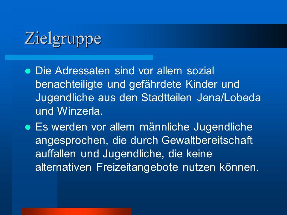 Zielgruppe Die Adressaten sind vor allem sozial benachteiligte und gefährdete Kinder und Jugendliche aus den Stadtteilen Jena/Lobeda und Winzerla. Es