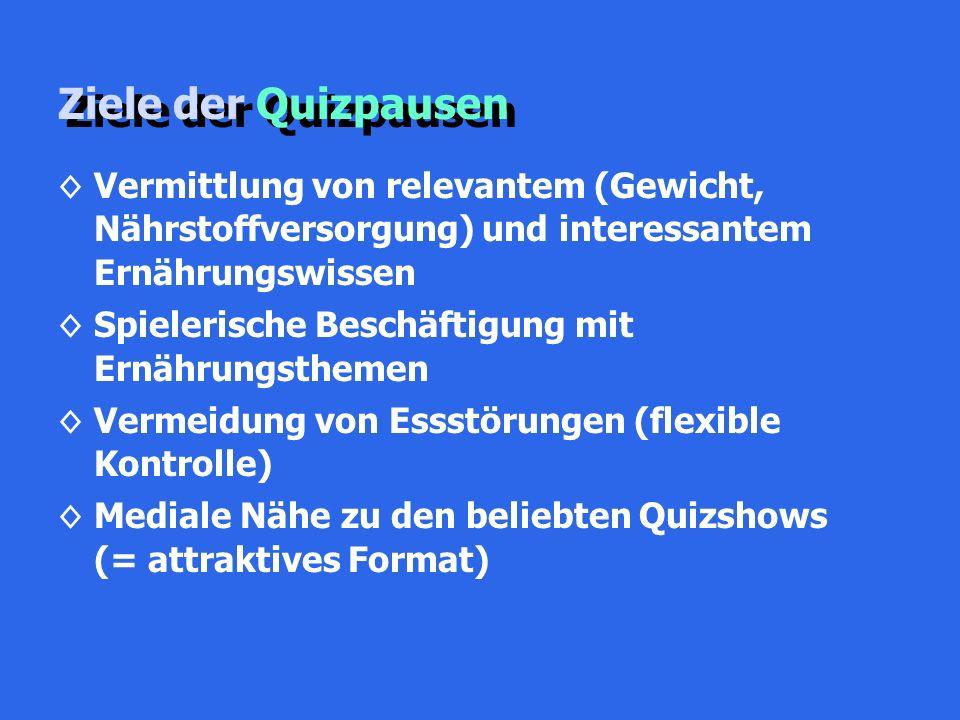 Ziele der Quizpausen ◊Vermittlung von relevantem (Gewicht, Nährstoffversorgung) und interessantem Ernährungswissen ◊Spielerische Beschäftigung mit Ernährungsthemen ◊Vermeidung von Essstörungen (flexible Kontrolle) ◊Mediale Nähe zu den beliebten Quizshows (= attraktives Format)
