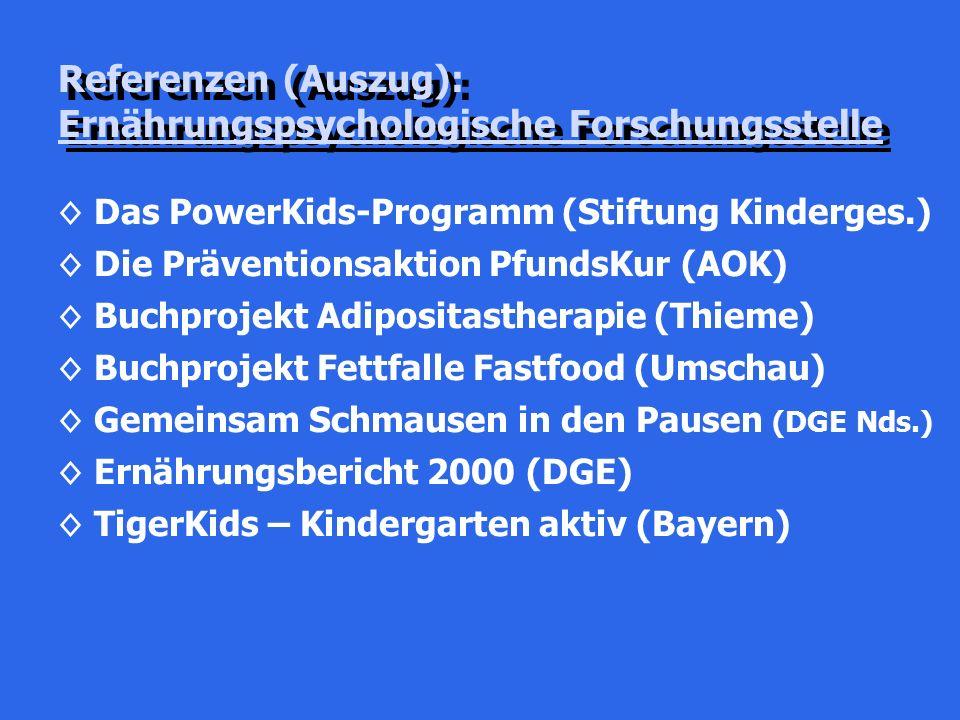 Referenzen (Auszug): Ernährungspsychologische Forschungsstelle ◊Das PowerKids-Programm (Stiftung Kinderges.) ◊Die Präventionsaktion PfundsKur (AOK) ◊Buchprojekt Adipositastherapie (Thieme) ◊Buchprojekt Fettfalle Fastfood (Umschau) ◊Gemeinsam Schmausen in den Pausen (DGE Nds.) ◊Ernährungsbericht 2000 (DGE) ◊TigerKids – Kindergarten aktiv (Bayern)