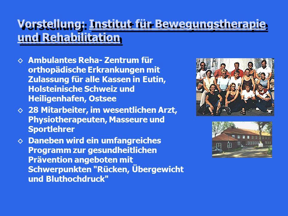 Vorstellung: Institut für Bewegungstherapie und Rehabilitation ◊Ambulantes Reha- Zentrum für orthopädische Erkrankungen mit Zulassung für alle Kassen