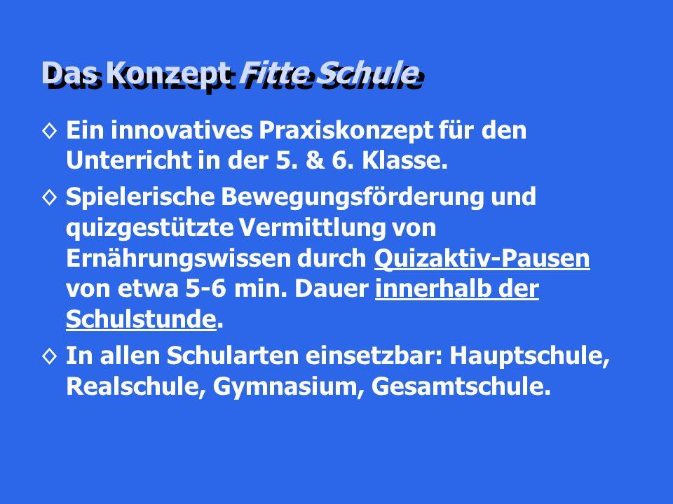 Das Konzept Fitte Schule ◊Ein innovatives Praxiskonzept für den Unterricht in der 5. & 6. Klasse. ◊Spielerische Bewegungsförderung und quizgestützte V