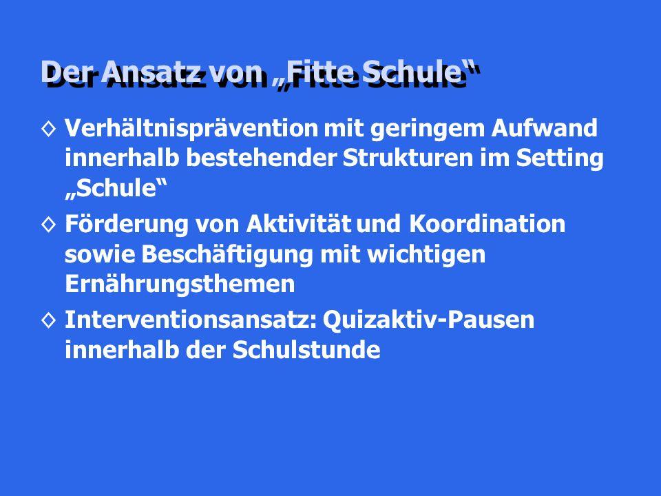 """Der Ansatz von """"Fitte Schule"""" ◊Verhältnisprävention mit geringem Aufwand innerhalb bestehender Strukturen im Setting """"Schule"""" ◊Förderung von Aktivität"""