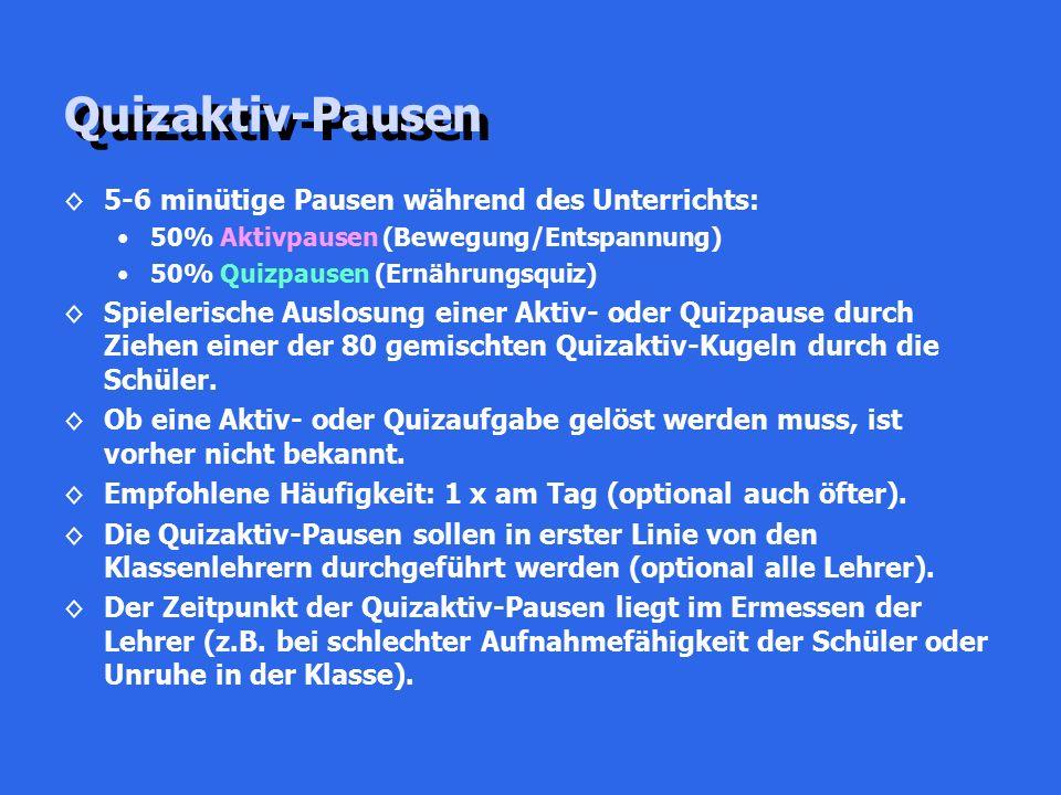 Quizaktiv-Pausen ◊5-6 minütige Pausen während des Unterrichts: 50% Aktivpausen (Bewegung/Entspannung) 50% Quizpausen (Ernährungsquiz) ◊Spielerische Au