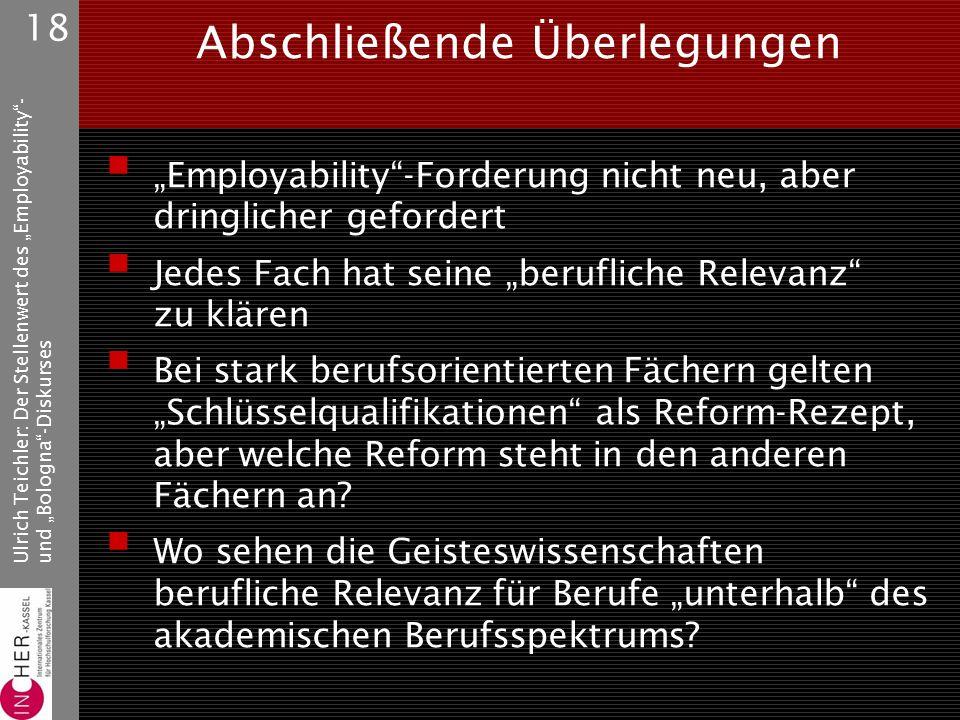 """Ulrich Teichler: Der Stellenwert des """"Employability - und """"Bologna -Diskurses 18 Abschließende Überlegungen  """"Employability -Forderung nicht neu, aber dringlicher gefordert  Jedes Fach hat seine """"berufliche Relevanz zu klären  Bei stark berufsorientierten Fächern gelten """"Schlüsselqualifikationen als Reform-Rezept, aber welche Reform steht in den anderen Fächern an."""