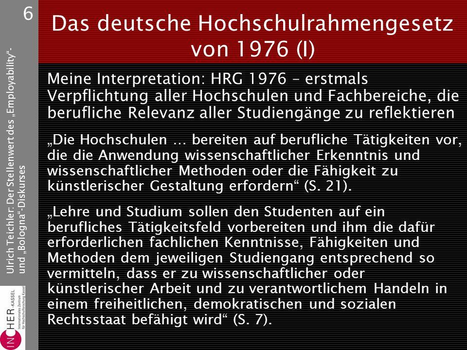 """Ulrich Teichler: Der Stellenwert des """"Employability - und """"Bologna -Diskurses 6 Das deutsche Hochschulrahmengesetz von 1976 (I) Meine Interpretation: HRG 1976 – erstmals Verpflichtung aller Hochschulen und Fachbereiche, die berufliche Relevanz aller Studiengänge zu reflektieren """"Die Hochschulen … bereiten auf berufliche Tätigkeiten vor, die die Anwendung wissenschaftlicher Erkenntnis und wissenschaftlicher Methoden oder die Fähigkeit zu künstlerischer Gestaltung erfordern (S."""