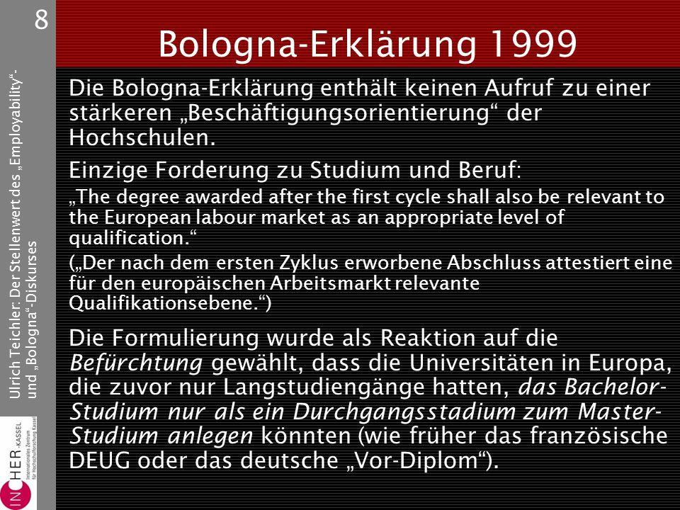 """Ulrich Teichler: Der Stellenwert des """"Employability - und """"Bologna -Diskurses 8 Bologna-Erklärung 1999 Die Bologna-Erklärung enthält keinen Aufruf zu einer stärkeren """"Beschäftigungsorientierung der Hochschulen."""