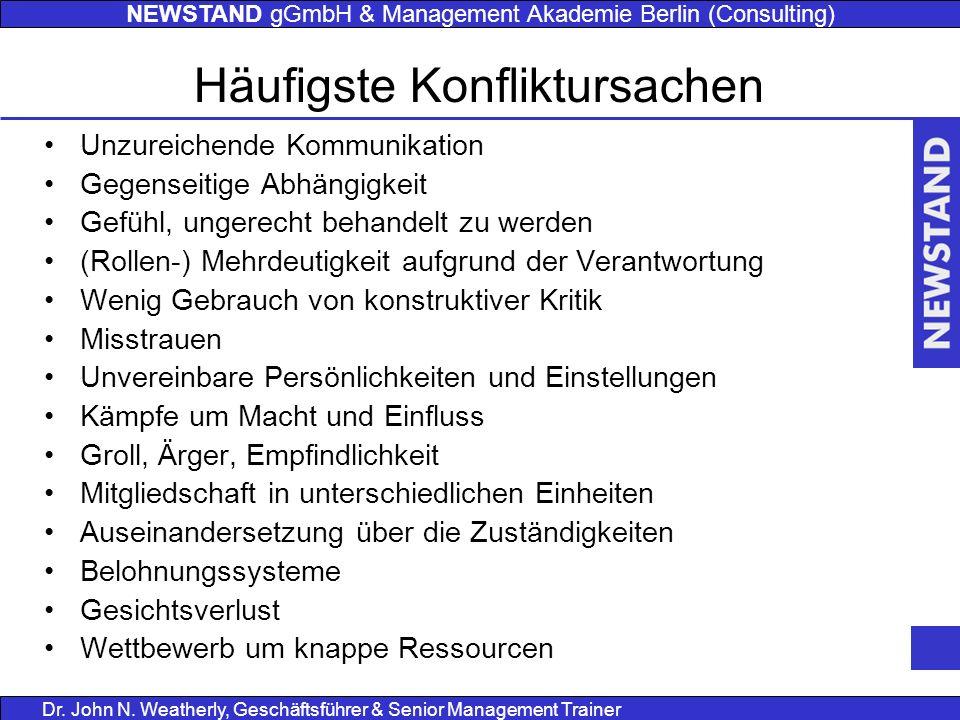 NEWSTAND gGmbH & Management Akademie Berlin (Consulting) Dr. John N. Weatherly, Geschäftsführer & Senior Management Trainer Häufigste Konfliktursachen