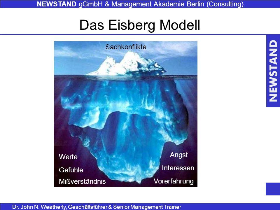 NEWSTAND gGmbH & Management Akademie Berlin (Consulting) Dr. John N. Weatherly, Geschäftsführer & Senior Management Trainer Das Eisberg Modell Sachkon