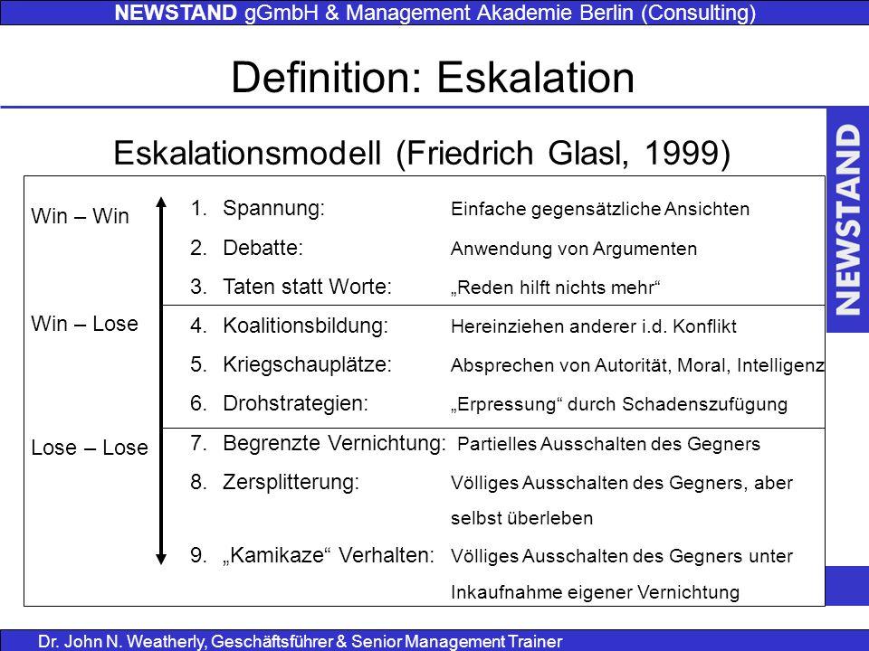 NEWSTAND gGmbH & Management Akademie Berlin (Consulting) Dr. John N. Weatherly, Geschäftsführer & Senior Management Trainer Definition: Eskalation Esk