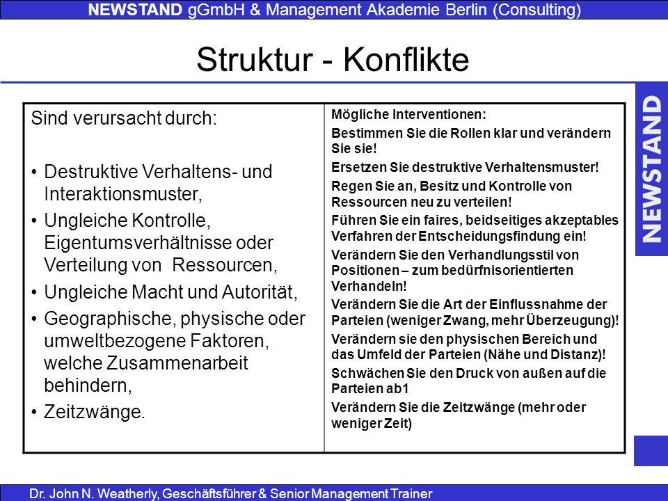 NEWSTAND gGmbH & Management Akademie Berlin (Consulting) Dr. John N. Weatherly, Geschäftsführer & Senior Management Trainer Struktur - Konflikte Sind