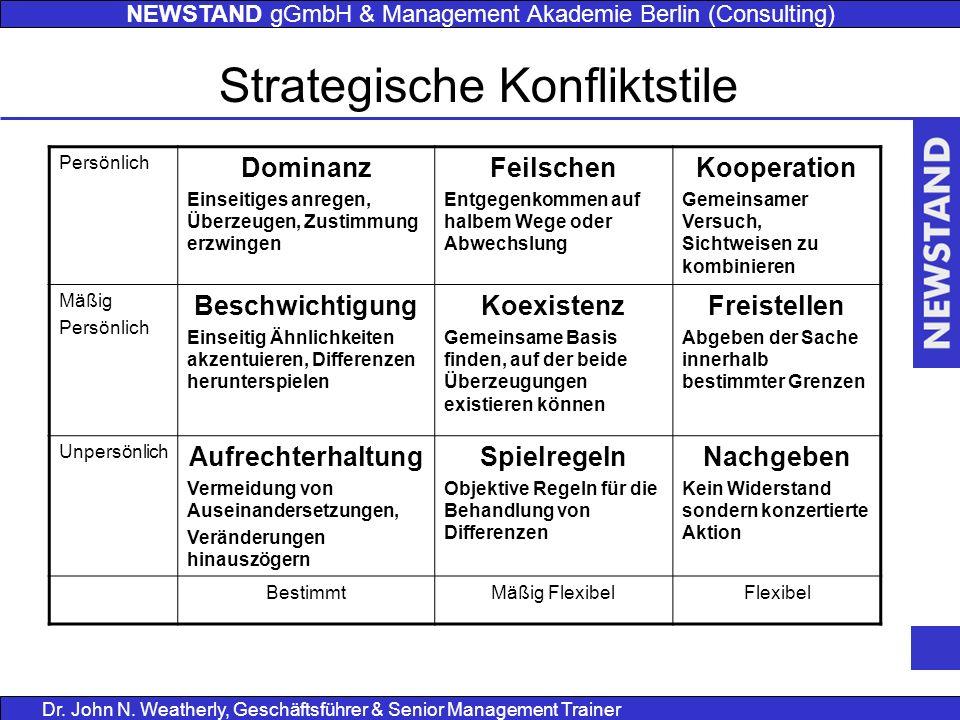 NEWSTAND gGmbH & Management Akademie Berlin (Consulting) Dr. John N. Weatherly, Geschäftsführer & Senior Management Trainer Strategische Konfliktstile