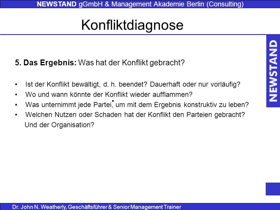 NEWSTAND gGmbH & Management Akademie Berlin (Consulting) Dr. John N. Weatherly, Geschäftsführer & Senior Management Trainer 5. Das Ergebnis: Was hat d