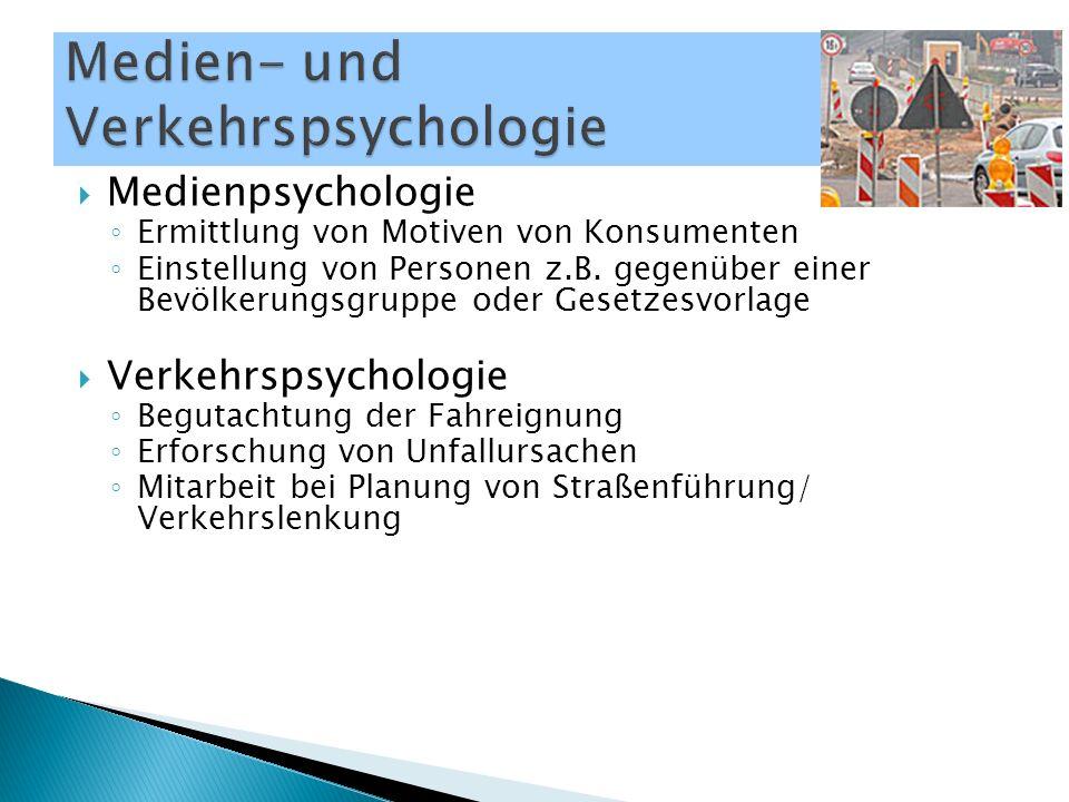  Medienpsychologie ◦ Ermittlung von Motiven von Konsumenten ◦ Einstellung von Personen z.B. gegenüber einer Bevölkerungsgruppe oder Gesetzesvorlage 