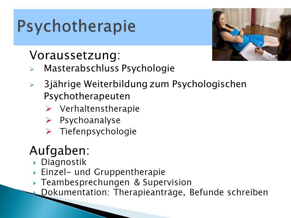 Voraussetzung:  Masterabschluss Psychologie  3jährige Weiterbildung zum Psychologischen Psychotherapeuten  Verhaltenstherapie  Psychoanalyse  Tie