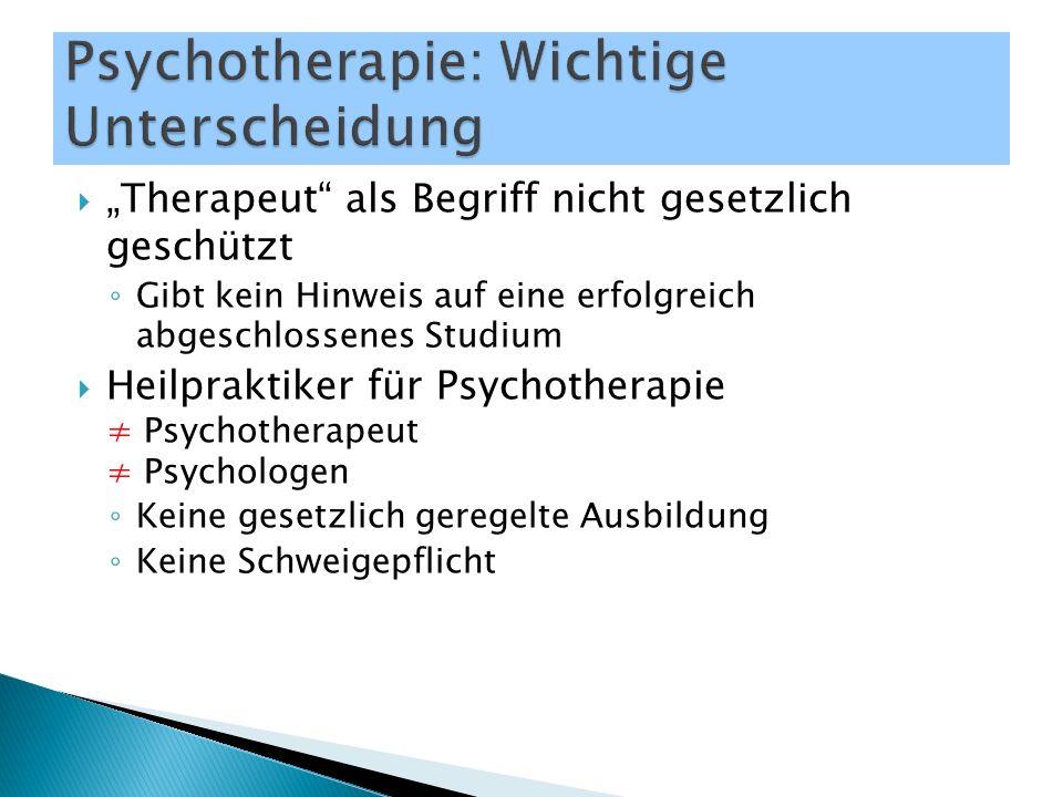 """ """"Therapeut als Begriff nicht gesetzlich geschützt ◦ Gibt kein Hinweis auf eine erfolgreich abgeschlossenes Studium  Heilpraktiker für Psychotherapie ≠ Psychotherapeut ≠ Psychologen ◦ Keine gesetzlich geregelte Ausbildung ◦ Keine Schweigepflicht"""