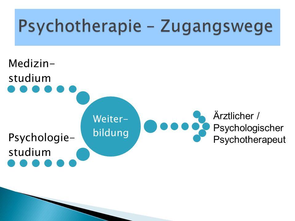 Weiter- bildung Medizin- studium Psychologie- studium Ärztlicher / Psychologischer Psychotherapeut