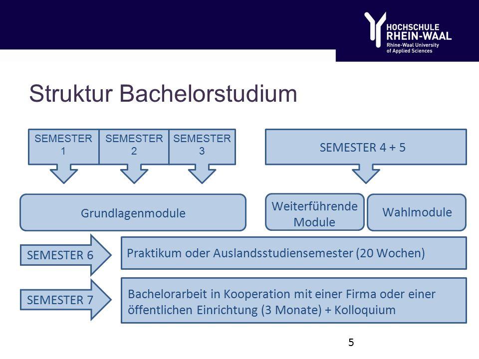 SEMESTER 1 SEMESTER 2 SEMESTER 3 SEMESTER 4 + 5 Grundlagenmodule Wahlmodule Praktikum oder Auslandsstudiensemester (20 Wochen) Bachelorarbeit in Kooperation mit einer Firma oder einer öffentlichen Einrichtung (3 Monate) + Kolloquium SEMESTER 6 Weiterführende Module SEMESTER 7 Struktur Bachelorstudium 5