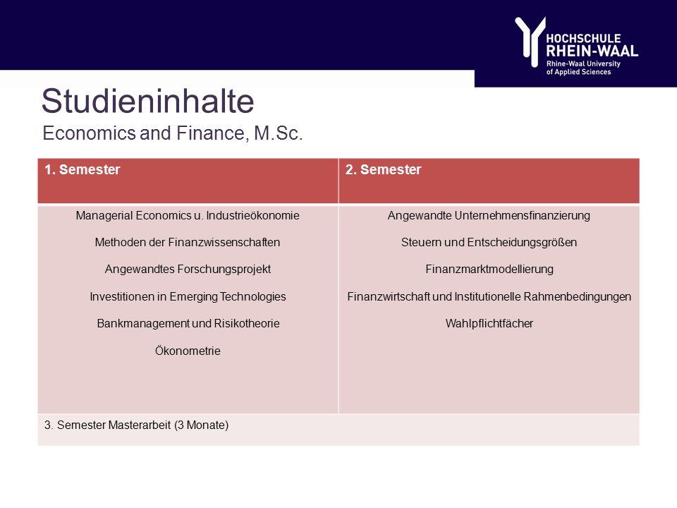 Studieninhalte Economics and Finance, M.Sc. 1. Semester2.