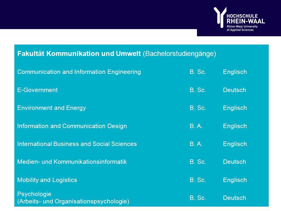 Fakultät Kommunikation und Umwelt (Bachelorstudiengänge) Communication and Information EngineeringB.