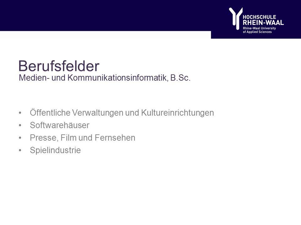 Berufsfelder Öffentliche Verwaltungen und Kultureinrichtungen Softwarehäuser Presse, Film und Fernsehen Spielindustrie Medien- und Kommunikationsinformatik, B.Sc.