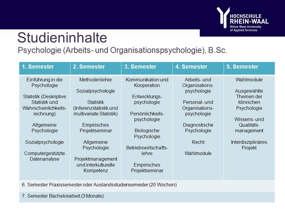 Studieninhalte Psychologie (Arbeits- und Organisationspsychologie), B.Sc.