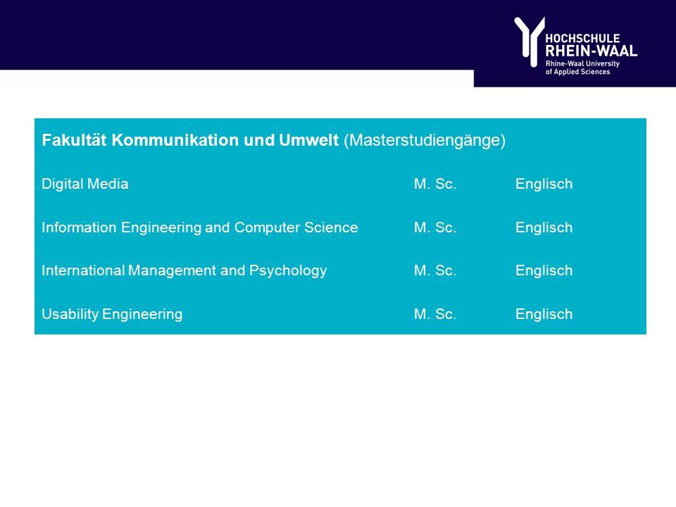 Fakultät Kommunikation und Umwelt (Masterstudiengänge) Digital MediaM.