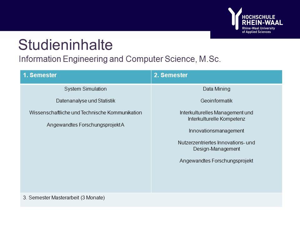 Studieninhalte Information Engineering and Computer Science, M.Sc.