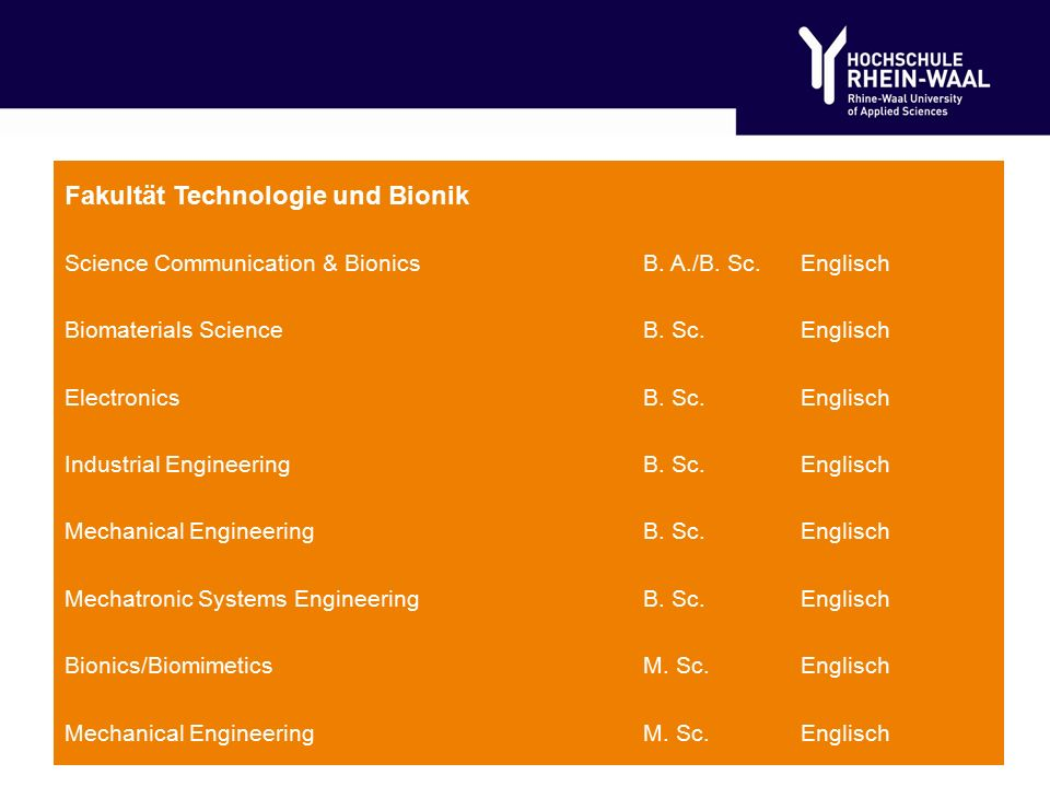 Fakultät Technologie und Bionik Science Communication & BionicsB.