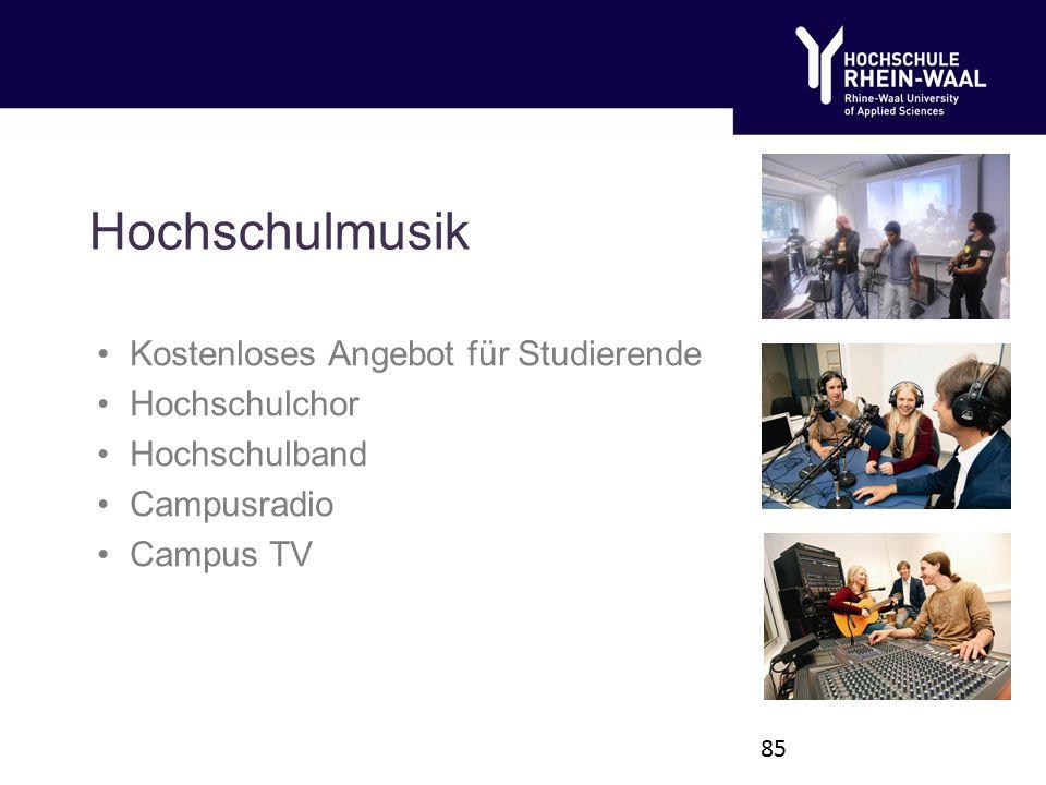 Hochschulmusik Kostenloses Angebot für Studierende Hochschulchor Hochschulband Campusradio Campus TV 85