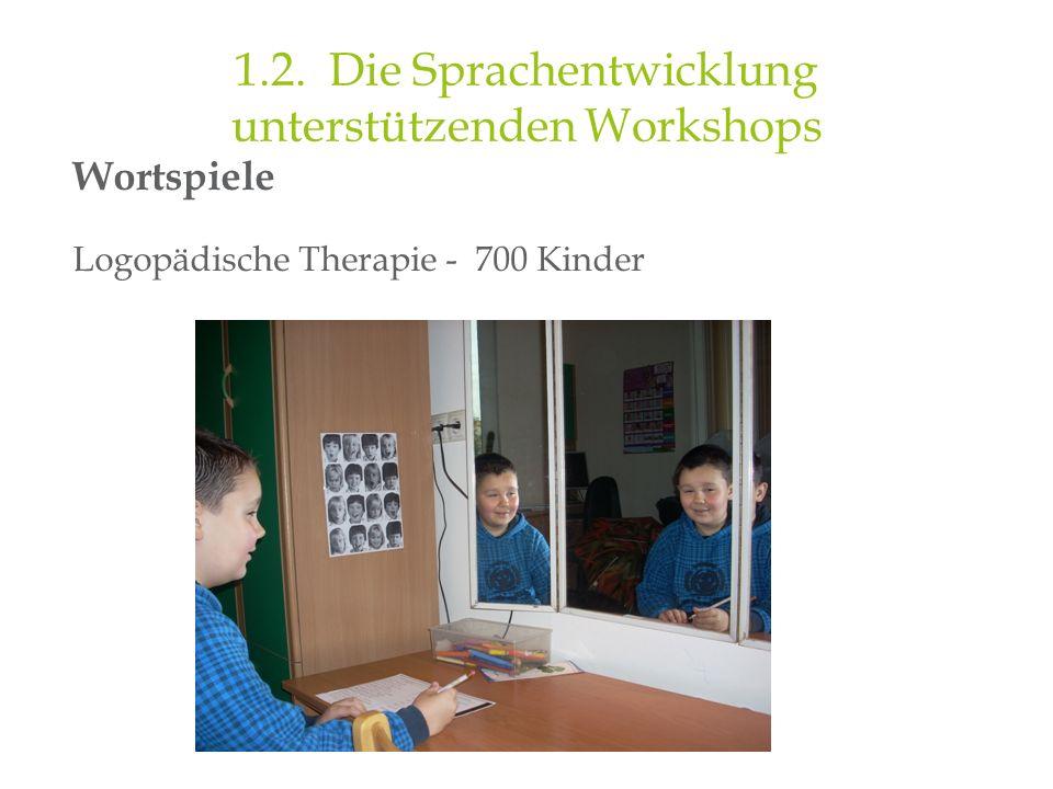 Wortspiele Logopädische Therapie - 700 Kinder 1.2. Die Sprachentwicklung unterstützenden Workshops