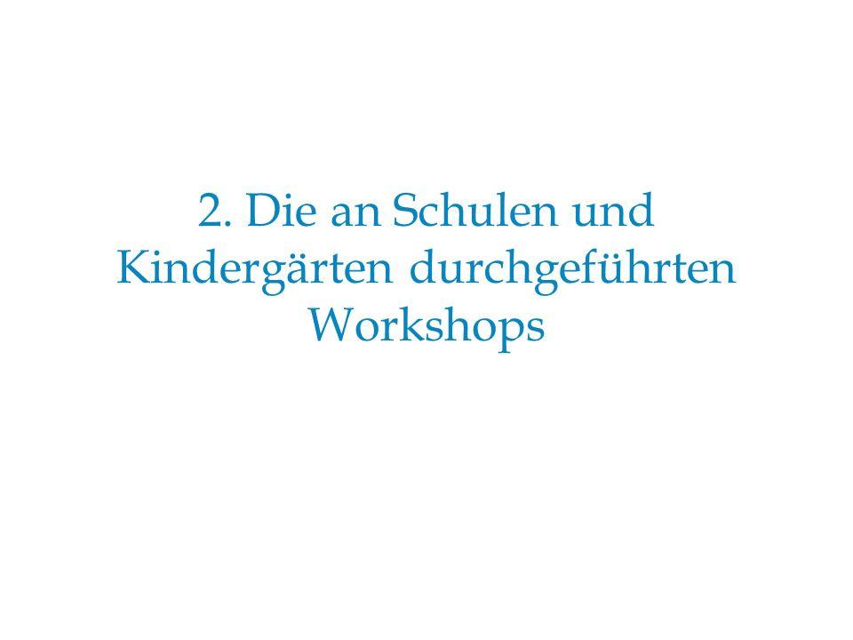 2. Die an Schulen und Kindergärten durchgeführten Workshops