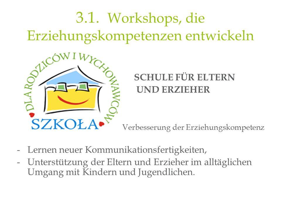 3.1. Workshops, die Erziehungskompetenzen entwickeln SCHULE FÜR ELTERN UND ERZIEHER Verbesserung der Erziehungskompetenz -Lernen neuer Kommunikationsf