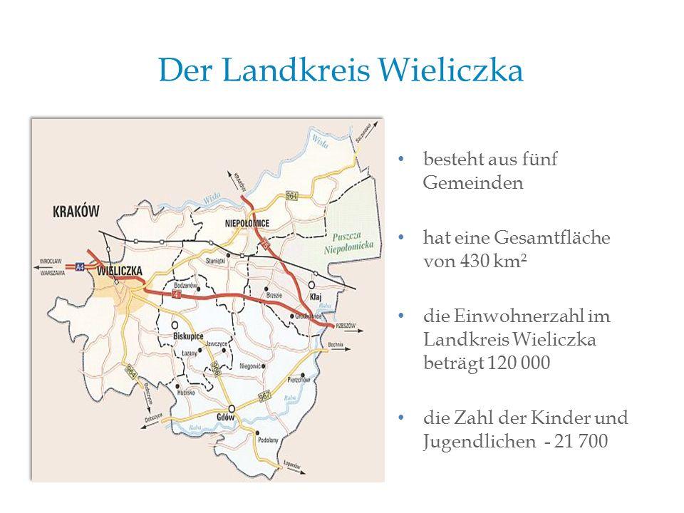 Der Landkreis Wieliczka besteht aus fünf Gemeinden hat eine Gesamtfläche von 430 km² die Einwohnerzahl im Landkreis Wieliczka beträgt 120 000 die Zahl der Kinder und Jugendlichen - 21 700