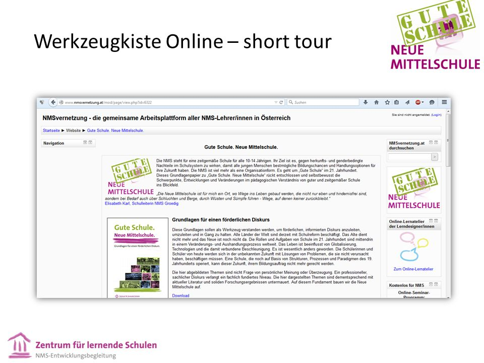 Werkzeugkiste Online – short tour