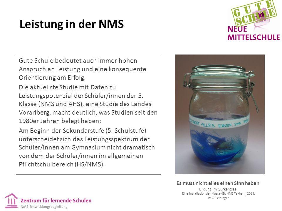 Leistung in der NMS Gute Schule bedeutet auch immer hohen Anspruch an Leistung und eine konsequente Orientierung am Erfolg.