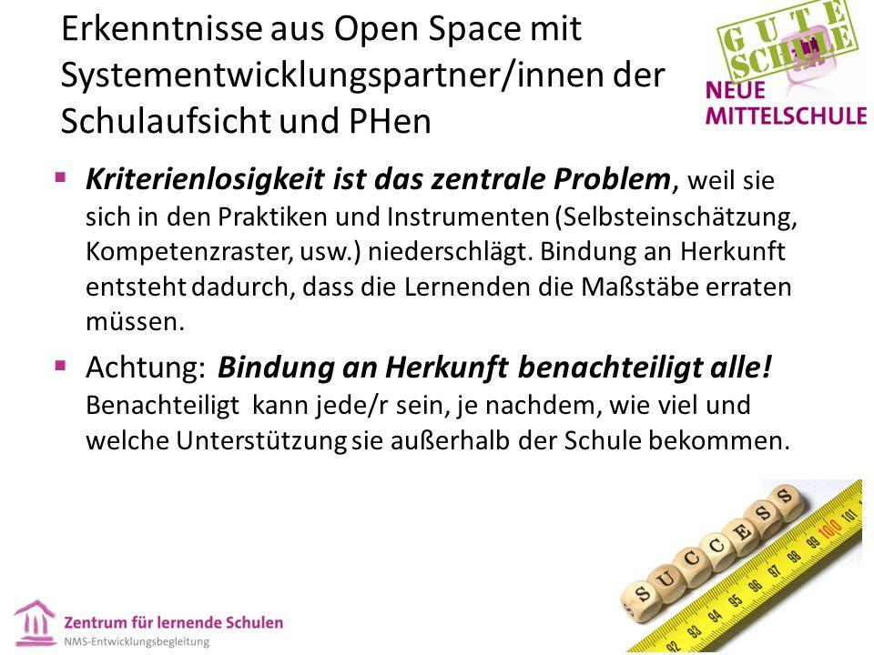Erkenntnisse aus Open Space mit Systementwicklungspartner/innen der Schulaufsicht und PHen  Kriterienlosigkeit ist das zentrale Problem, weil sie sich in den Praktiken und Instrumenten (Selbsteinschätzung, Kompetenzraster, usw.) niederschlägt.
