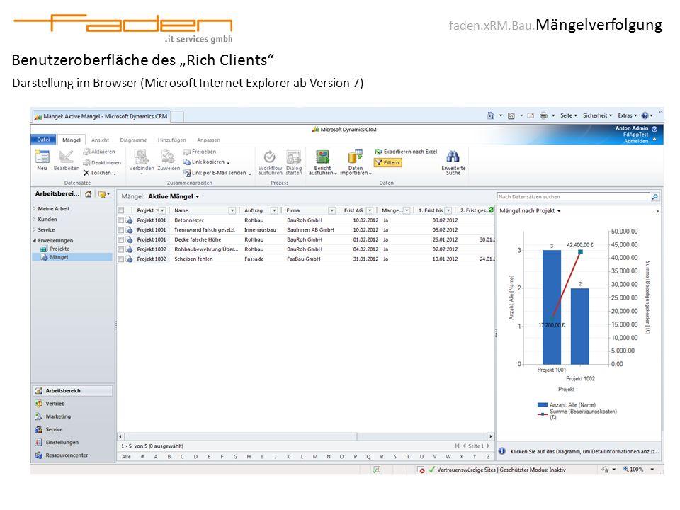 """faden.xRM.Bau. Mängelverfolgung Benutzeroberfläche des """"Rich Clients"""" Darstellung im Browser (Microsoft Internet Explorer ab Version 7)"""