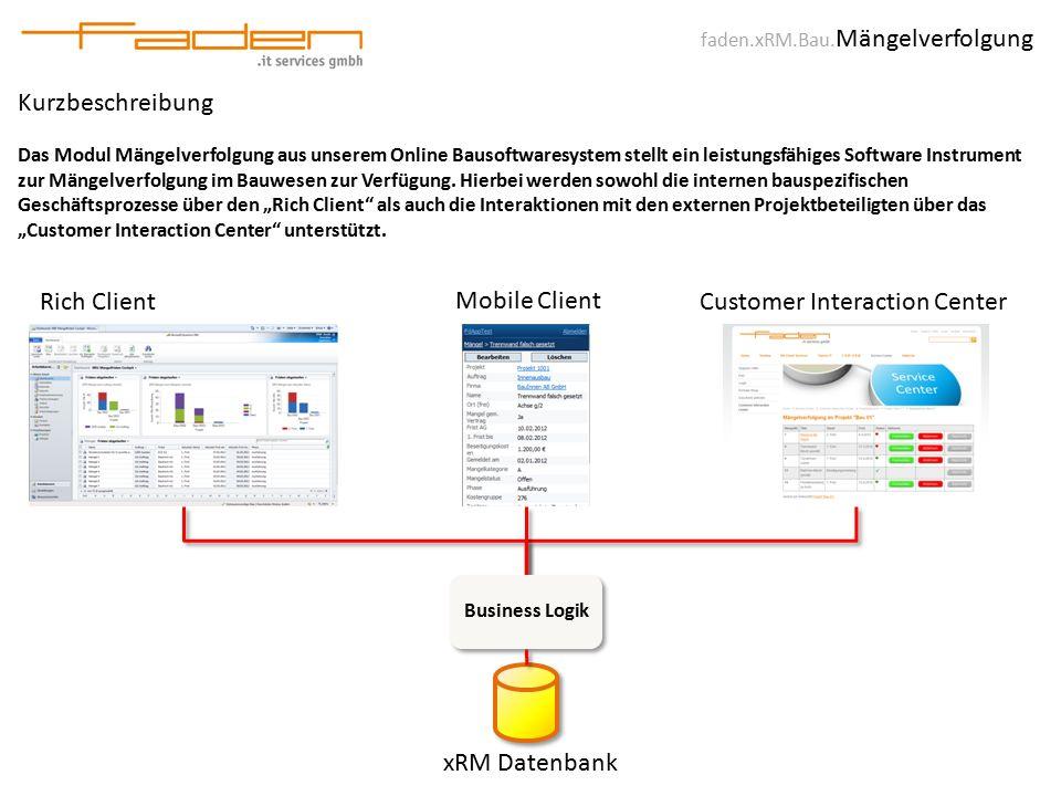 faden.xRM.Bau. Mängelverfolgung Kurzbeschreibung Das Modul Mängelverfolgung aus unserem Online Bausoftwaresystem stellt ein leistungsfähiges Software