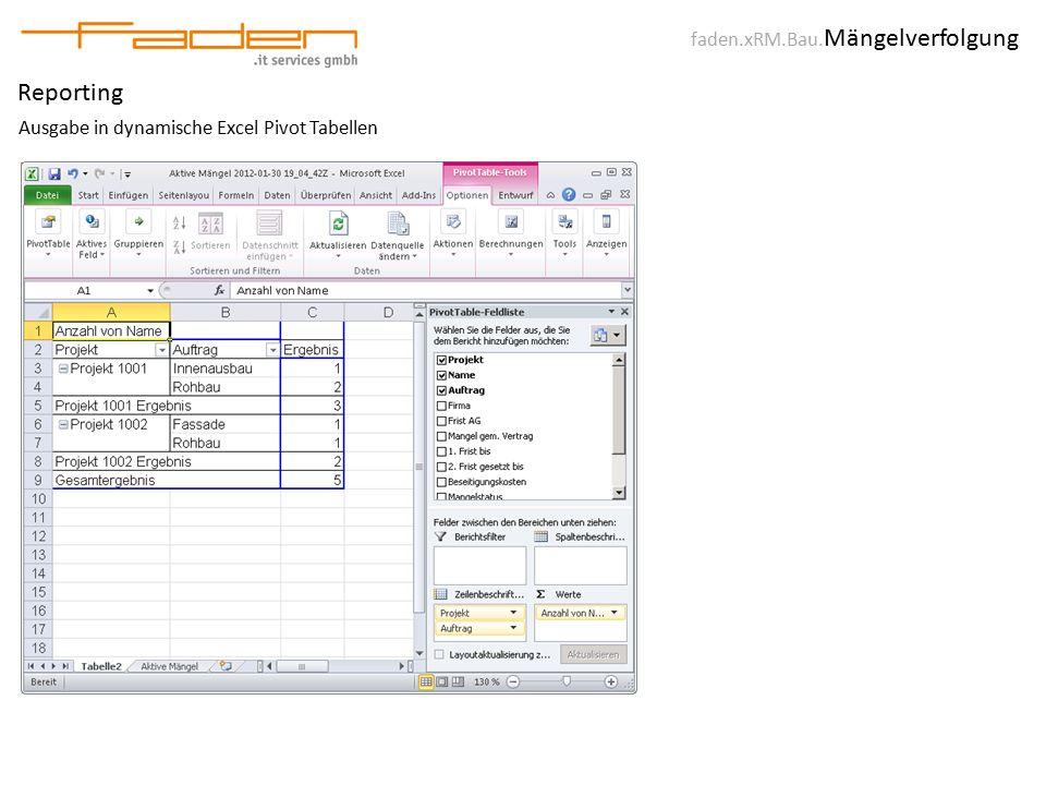 faden.xRM.Bau. Mängelverfolgung Reporting Ausgabe in dynamische Excel Pivot Tabellen