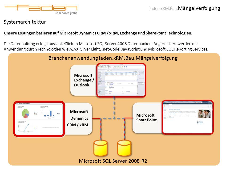 faden.xRM.Bau. Mängelverfolgung Systemarchitektur Unsere Lösungen basieren auf Microsoft Dynamics CRM / xRM, Exchange und SharePoint Technologien. Die