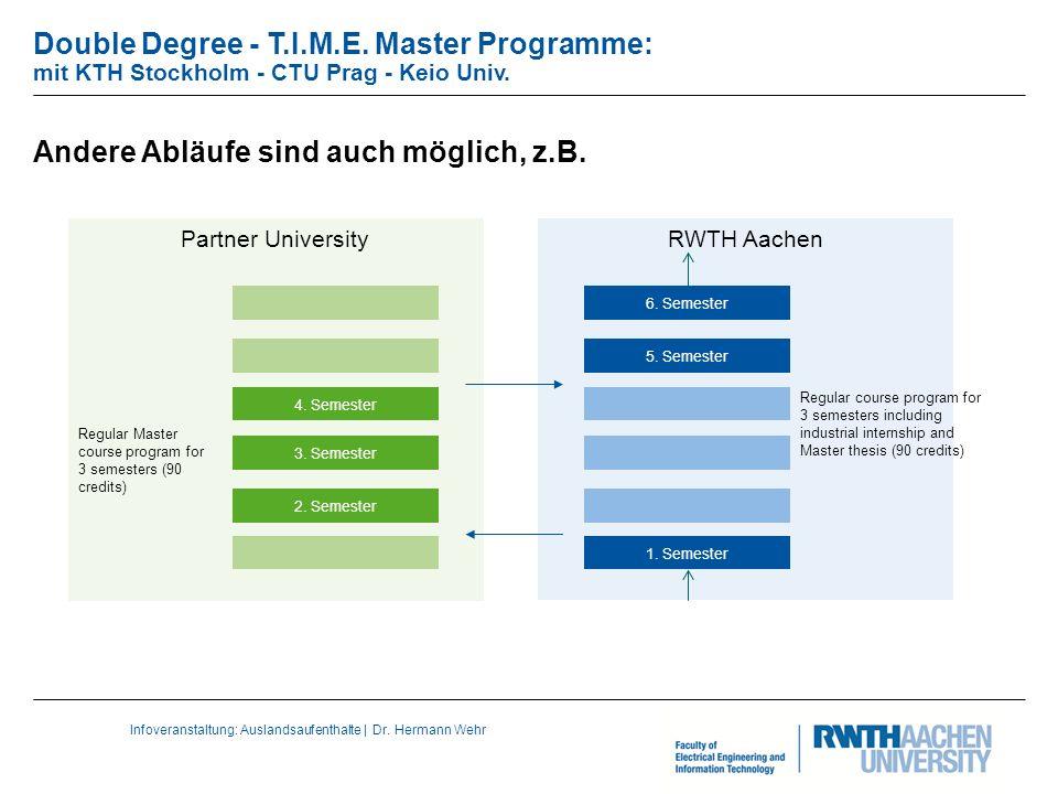 Infoveranstaltung: Auslandsaufenthalte | Dr. Hermann Wehr Double Degree - T.I.M.E.