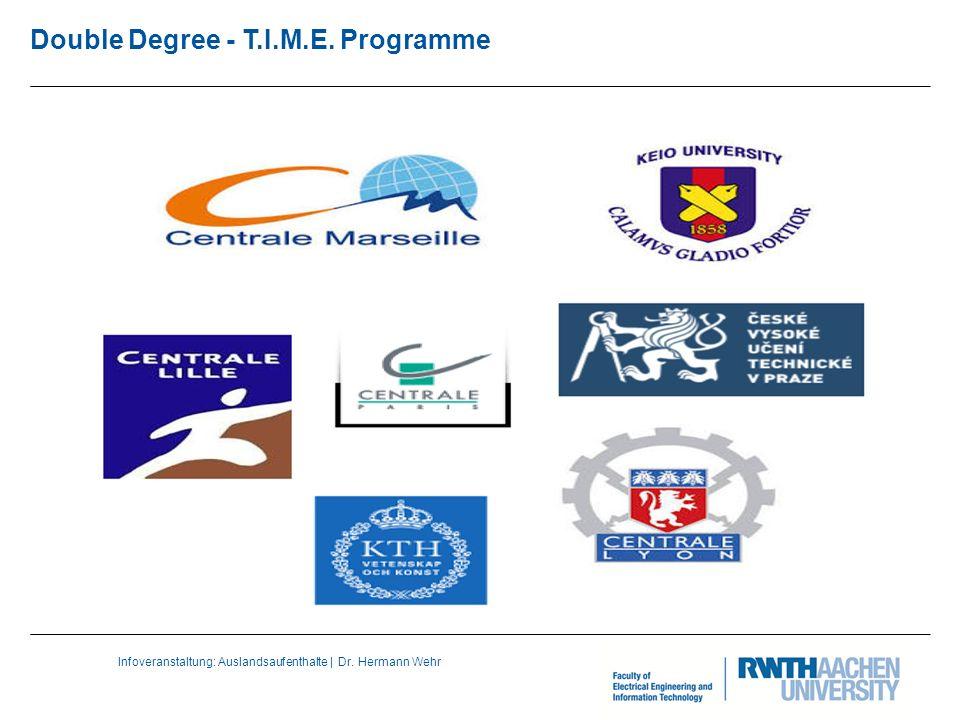 Infoveranstaltung: Auslandsaufenthalte | Dr. Hermann Wehr Double Degree - T.I.M.E. Programme