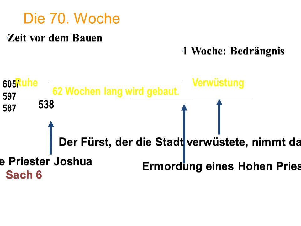 1 Woche: Bedrängnis 605/ 597 587 Die 70. Woche 538 62 Wochen lang wird gebaut. Ermordung eines Hohen Priesters Der Hohe Priester Joshua Sach 6 Der Hoh