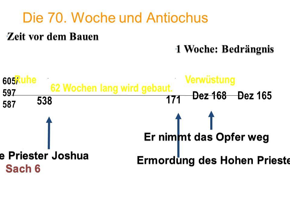 1 Woche: Bedrängnis 605/ 597 587 Die 70. Woche und Antiochus 538 Dez 165 171 Dez 168 62 Wochen lang wird gebaut. Ermordung des Hohen Priesters Onias I