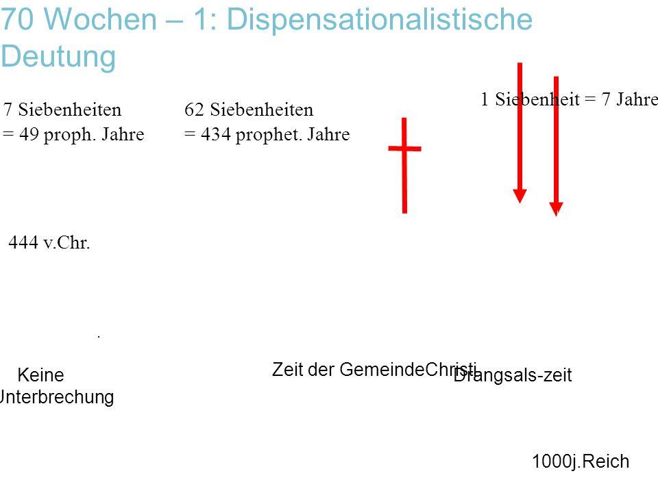 70 Wochen – 1: Dispensationalistische Deutung 444 v.Chr. 7 Siebenheiten = 49 proph. Jahre 62 Siebenheiten = 434 prophet. Jahre Zeit der GemeindeChrist