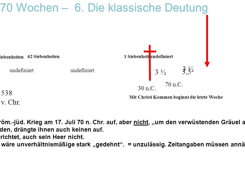 undefiniert 7 Siebenheiten 62 Siebenheiten 3,5 3 ½ 1 Siebenheit undefiniert 30 n.C. 538 v. Chr. 70 n.C. 70 Wochen – 6. Die klassische Deutung Mit Chri