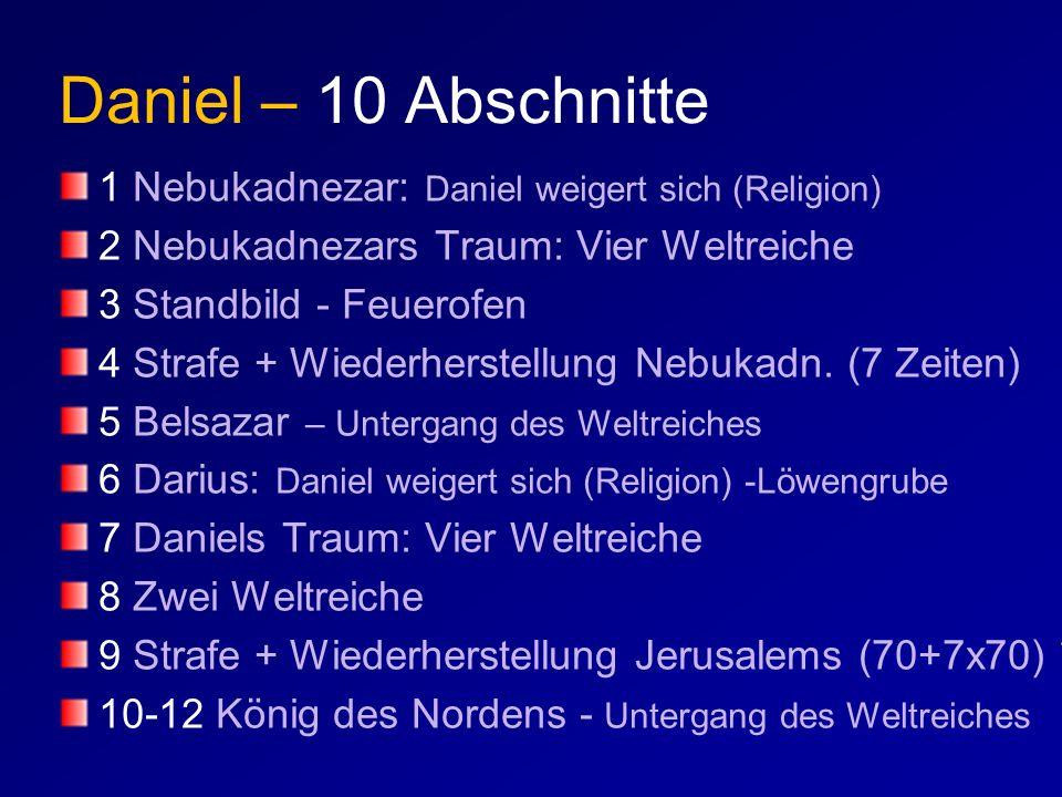 Daniel – 10 Abschnitte 1 Nebukadnezar: Daniel weigert sich (Religion) 2 Nebukadnezars Traum: Vier Weltreiche 3 Standbild - Feuerofen 4 Strafe + Wieder